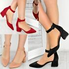 Womens Ladies Low Block Heel Office Shoes Black Work Formal Ankle Strappy Size