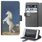 HAIRYWORM WHITE HORSE REARING DELUXE LEATHER WALLET PHONE CASE, FLIP CASE, COVER