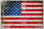 American Flag on White Washed Brick Wall Watercolor Print on Archival Paper