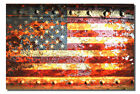 American Flag On Rusted Metal Door Watercolor Print on Archival Paper - GO USA