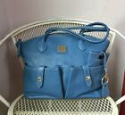 Dooney And Bourke Blue Pebbled Leather Crescent Tote Bag Purse With Accessories