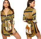 Womens Belted Leopard Animal Print Satin Shirt Dress Ladies Long Turn Up Sleeve