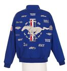 Authentic Mustang Racing Collage Embroidered Cotton Jacket JH Design Blue
