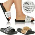 Womens Ladies Chain Sliders Farrah Slip On Summer Sandals Slippers Mules Size