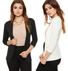 Womens Cropped Waterfall Open Jacket Ladies 3/4 Sleeve Plain Fitted 8-14