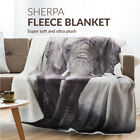 Bedsure Soft Sherpa Blanket Throw Elephant Pets Leopard Polar Bear Print Blanket image