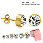 CZ Studs Earrings 6pair S-L Post Plain Tiny Stainless Steel Gift Box Pick Color