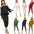 Womens Top Trousers Off Shoulder Co-ord Set Frill Stretch Pants Ladies New 8-14