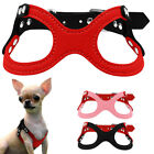 Soft Suede Leather Small Dog Harness For Puppies Ajustable Chest 10-13