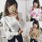 Womens' Lace Long 侵权 leaf Sleeve T-shirt Ladies Crewneck Tops Casual Blouse