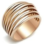 New Stainless Steel Rose Gold IP Spiral Dome Ring Sizes 5-10