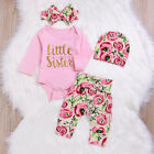 4pcs Newborn Kids Baby Girl Tops Hoodie T-shirt Floral Pants Outfit Clothes Set