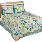 Magnolia Flowers Stripe Scalloped Edge Reversible Lightweight Quilt image