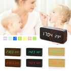 Digital LED Alarm Wooden Desk Clock Voice Control Timer Thermometer Display Gift