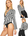 Womens Striped Wrapover Long Sleeve Plunge V-Neck Bodysuit Ladies Leotard Top