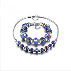 Cute Beautiful Women's Rhinestone Murano Stainless Steel Necklace Bracelet Gift