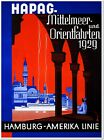 Hamburg America Line Vintage Travel Poster Reproduction