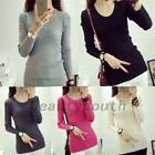 Knit Cotton Stretch Women's Ribbed Knitwear Knitted Top Base Shirt Thin Sweater