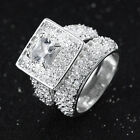 Expensive Women Size 6,7,8,9,10 Gold Filled White Topaz Wedding Rings Sets 2Pcs