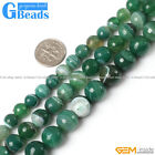 """Natural Green Stripe Agate Onyx Gemstone Faceted Round Beads Free Shipping 15"""""""