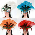 Ostrich Feather Headband Headdress Samba Carnival Headpiece Performance Show