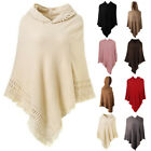 Women Ladies Tassel Cloak Hood Warm Sweater Knit Top Poncho Cape Coat Outwear US