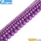 "Natural Stone Purple Phosphosiderite Round Jewelry Making Beads Strand 15"" DIY"