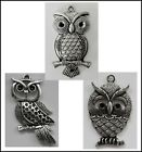 METAL CHARM 1 bail OWL #714 (55mm) or #716 (50mm) silver tone