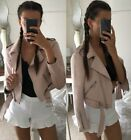 ZARA BLOGGERS PINK FAUX SUEDE CROP DOUBLE ZIP MOTORCYCLE BIKER JACKET 6318/021