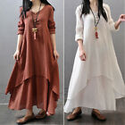 Fashion Women Casual Plus Size Maxi Dress Loose Long Sleeve Linen Dress M-5XL