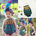 Hot Newborn Baby Girls Summer Tassels Peacock Feather Romper Jumpsuit Outfits