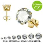 Pair of Gold Plated Round CZ 316L Surgical Steel Stud Earrings - Various Sizes