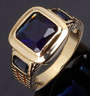 Size 8,9,10,11,12 Man's Jewelry Blue Sapphire 18K Yellow Gold Filled Ring Gift
