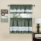 Gingham Check Live~Laugh~Love 3 Pc Kitchen Curtain Set - Assorted Colors & Sizes
