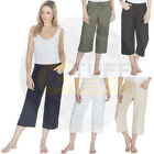 Ladies Women Capri 3/4 Pants Trousers Linen Cropped Summer Shorts Holiday Short