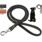 "Handcraft Braided Leather Dog Leash for Medium Large Dogs Black Brown 25""/48"""