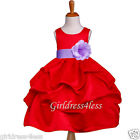 NEW RED LILAC WEDDING HOLIDAY PICK UP FLOWER GIRL DRESS 6M 12M 18M 2 4 6 8 10 12