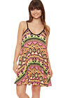 Womens Neon Aztec Strappy Swing Dress Print Sleeveless Flared Ladies 8-14