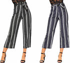 Womens Monochrome Striped Belted 3/4 Trousers Ladies Pants Culottes High Waisted