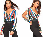 Womens Striped Print Crepe Long Sleeve Plunging V-Neck Wrap Ladies Short Top