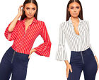 Womens Pinstriped Print Button Long Flared Bell Sleeve Shirt Ladies Collar Top