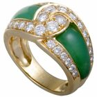 Van Cleef & Arpels 18K Yellow Gold Diamond Pave and Green Chrysoprase Band Ring