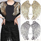 Fashion 1Pair Applique Motif Angel Wings Sequins Iron-On Embroidered Patch Decor