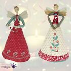 Gisela Graham Cream and Red Angel Christmas Tree Topper Textile Decoration 19 cm
