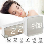 Bedside Home Clock Alarm Mirror LED Digital Night Light Thermometer Display