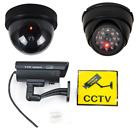 Dummy Fake Surveillance CCTV Security Dome Camera w/ Flashing Red LED Light LOT