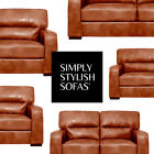 SEVERO Italian Inspired Brown Tan Leather Sofas 3 + 2 Seaters + Armchairs