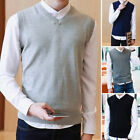 Men V Neck Tank Sleeveless Knitted Tops Sweater Vest Business Jumpers Cardigans