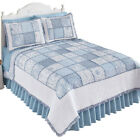 Hillside Cottage Blue Floral Patchwork Quilt Bedding Coverlet with Ruffled Edge image