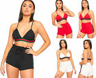 Womens Side Striped Studded Hot Pants Crop Top Co-Ord Set Ladies Strappy Bralet